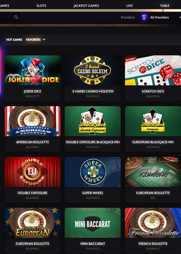 7bitcasino Table Games
