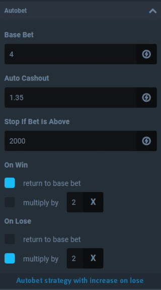 Autobet startegy with increase on lose