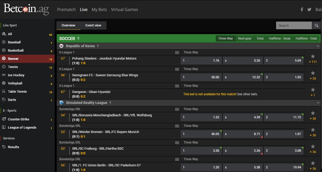 Betcoin Live Sports Betting