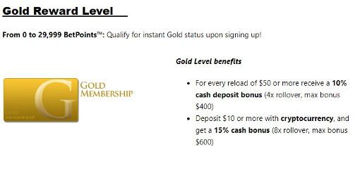 Bookmaker Gold Reward Level