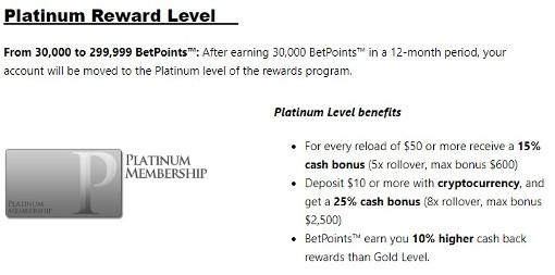 Bookmaker Platinum Reward Level