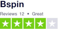 Bspin rated great on Trustpilot over 12 reviews