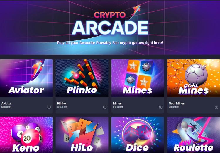 Cloudbet crypto arcade games