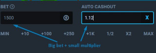 Crash game strategy Big bet small multiplier