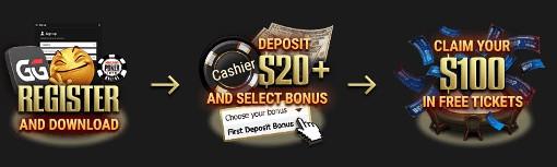 GGPoker Welcome Bonus $100 in FREE Tickets