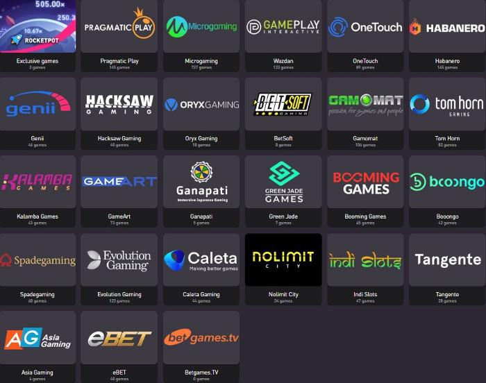 Rocketpot Review: Game Providers